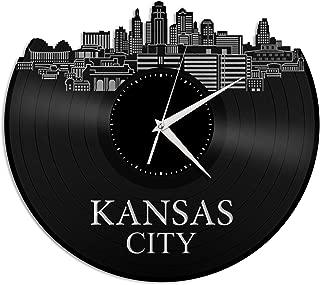 VinylShopUS - Kansas Vinyl Wall Clock Cityscape City Skyline Souvenir Anniversary Unique Gift Home and Office   Room Decoration