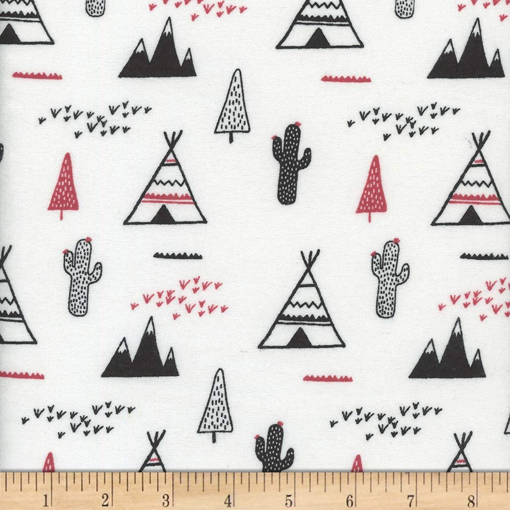 Flannel Snuggy Teepee Cactus Sale special price Red Yard Fabric White by the Ranking TOP16