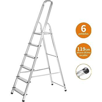 Escaleras Plegables Aluminio 6 Peldaños de Tijera Super Resistente hasta 150Kg, Acero y Aluminio Antideslizantes, Altura de Trabajo hasta 310cm | Packer PRO: Amazon.es: Bricolaje y herramientas