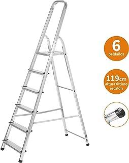 Escaleras Plegables Aluminio 6 Peldaños de Tijera Super Resistente hasta 150Kg, Acero y Aluminio Antideslizantes, Altura de Trabajo hasta 310cm | Packer PRO