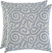 Artcest Set of 2, Decorative Cotton Blend Jacquard Bed Throw Pillow Case, Sofa Durable Paisley Pattern, Comfortable Couch Cushion Cover (Light Blue, 18 X 18 Inches)