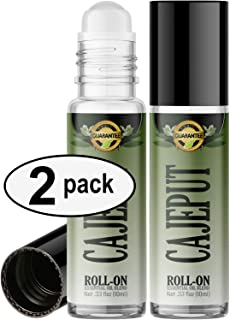 Cajeput Roll On Essential Oil Rollerball (2 Pack - Pure Cajeput Oil) Pre-diluted with Glass Roller Ball for Aromatherapy, Kids, Children, Adults Topical Skin Application - 10ml Bottle