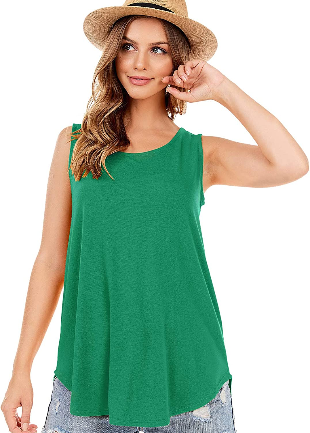 Tank Tulsa Mall Tops for Genuine Women Solid Loose Sleeveless Color Crewneck V