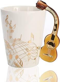 12.9 Ounce Guitar Mug Music Note Coffee Mugs Ceramic Guitar Music Cup Mug Gifts for Guitar Players Musicians (Gold)