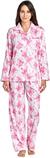 Women's Embroidered Contrast Print Long Sleeve Pajama Set
