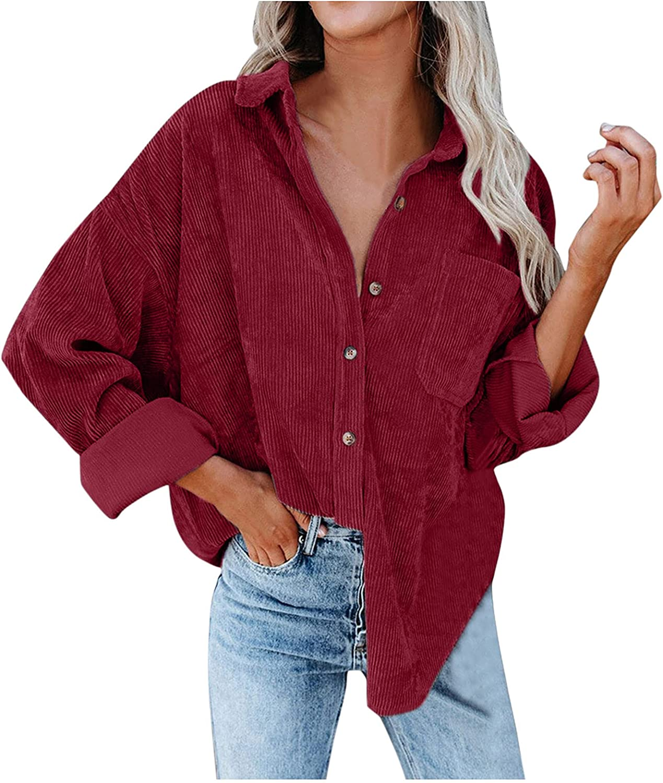 LODDD Womens Corduroy Button Down Shirts Coat Boyfriend Long Sleeve Oversized Loose Cardigan Blouses Tops