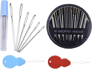 kuou 40 Pcs Large Eye Blunt Needles Stainless Steel Large Eye Blunt Sewing Needles with Clear Bottle