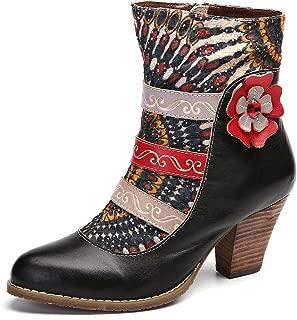 Ankle Booties for Women, Leather Boots High Block Heel Bohemian Splicing Pattern Side Zipper Toe Bootie