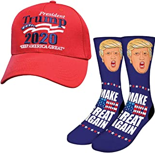 (Set) President Donald Trump Crew Length Socks & Make America Great Cap