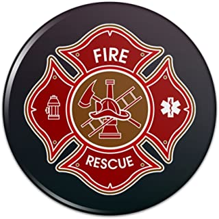 Firefighter Fire Rescue Maltese Cross Pinback Button Pin Badge