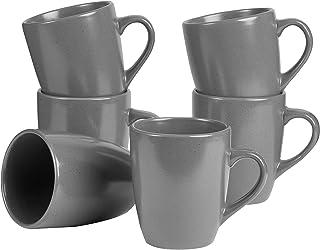 Cooper & Co. Mari Mug Set of 6 Pieces, 400 ml Capacity, Charcoal