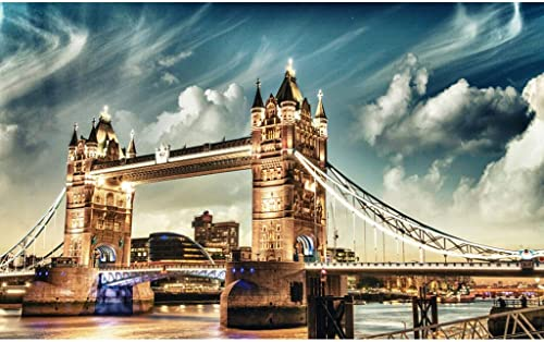 H erne Puzzles, London View, Big Ben & Tower Bridge , Perfekter Schnitt & Passform, 500 1000 1500 Stück Lorbeerwald Spielzeug Spiel Fotografie Kunst Zeichnung für Erwachsene & Kinder Sommus SY