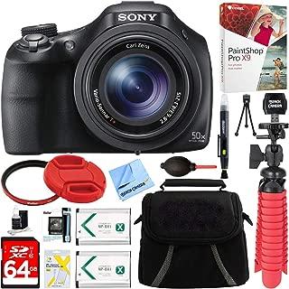 Sony DSC-HX400V/B 50x Optical Zoom Digital Camera + 64GB Memory Card, Battery & Accessory Bundle