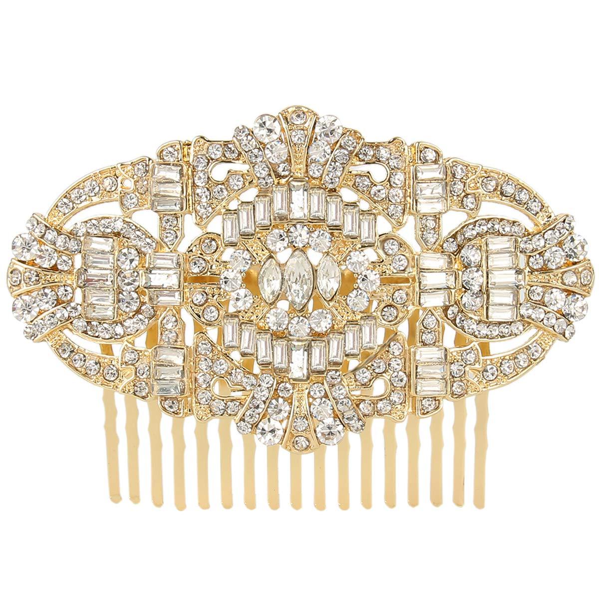 EVER FAITH Women's Austrian Crystal Bridal Art Deco Hair Side Comb Clear