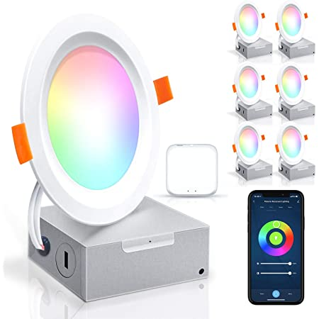 Led Recessed Lighting Ultra-Thin 4 Inch-6 Pack PETEME WiFi Smart Controllable Downlight RGBCW 10W, Cool & Warm White Adjustable 800LM High Brightness with J-Box, Compatible with Alexa/Google/Siri