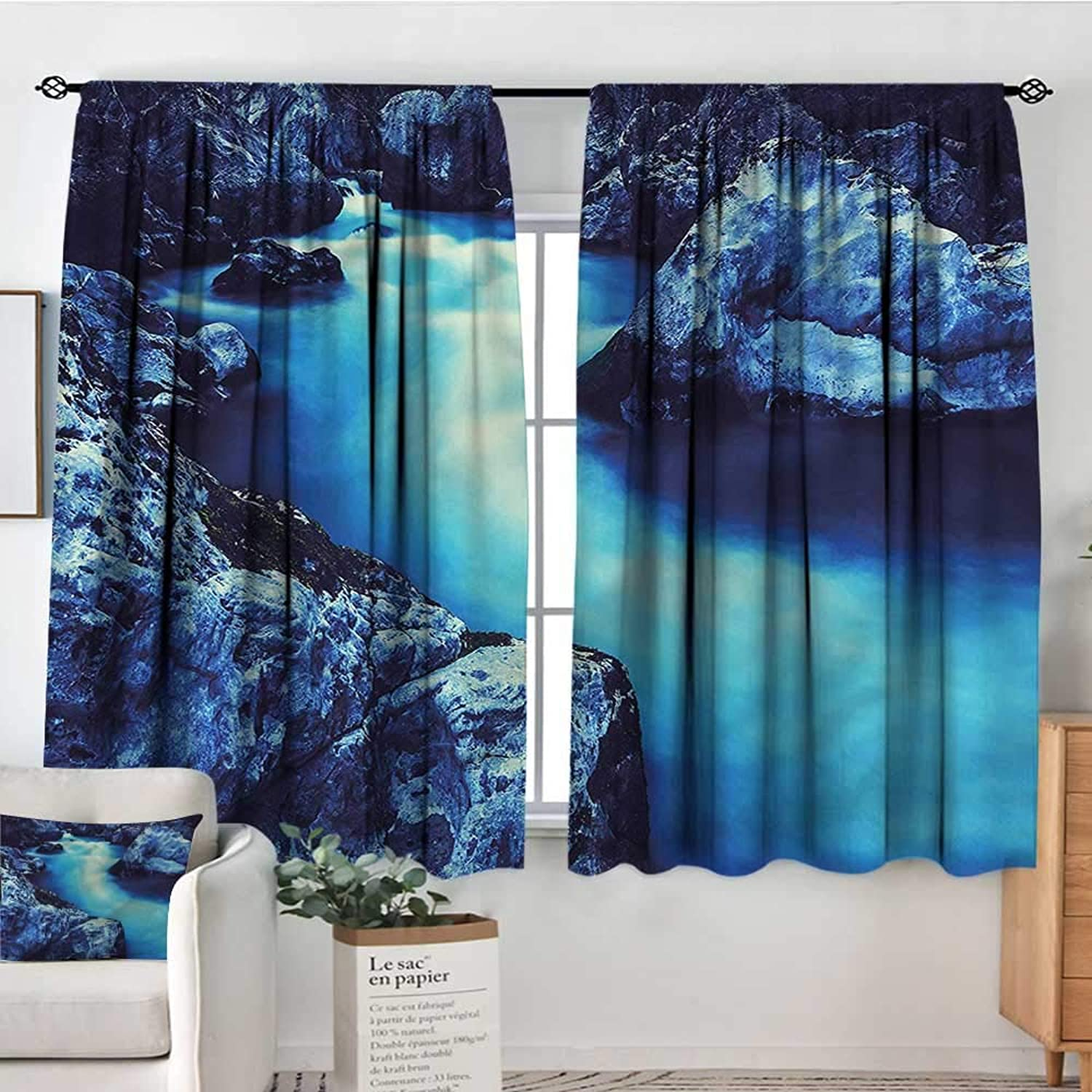 Familytaste Waterfall,Printed Backout Curtains Frozen Lake in Winter 42 X54  Nursery and Kids Bedroom Curtain