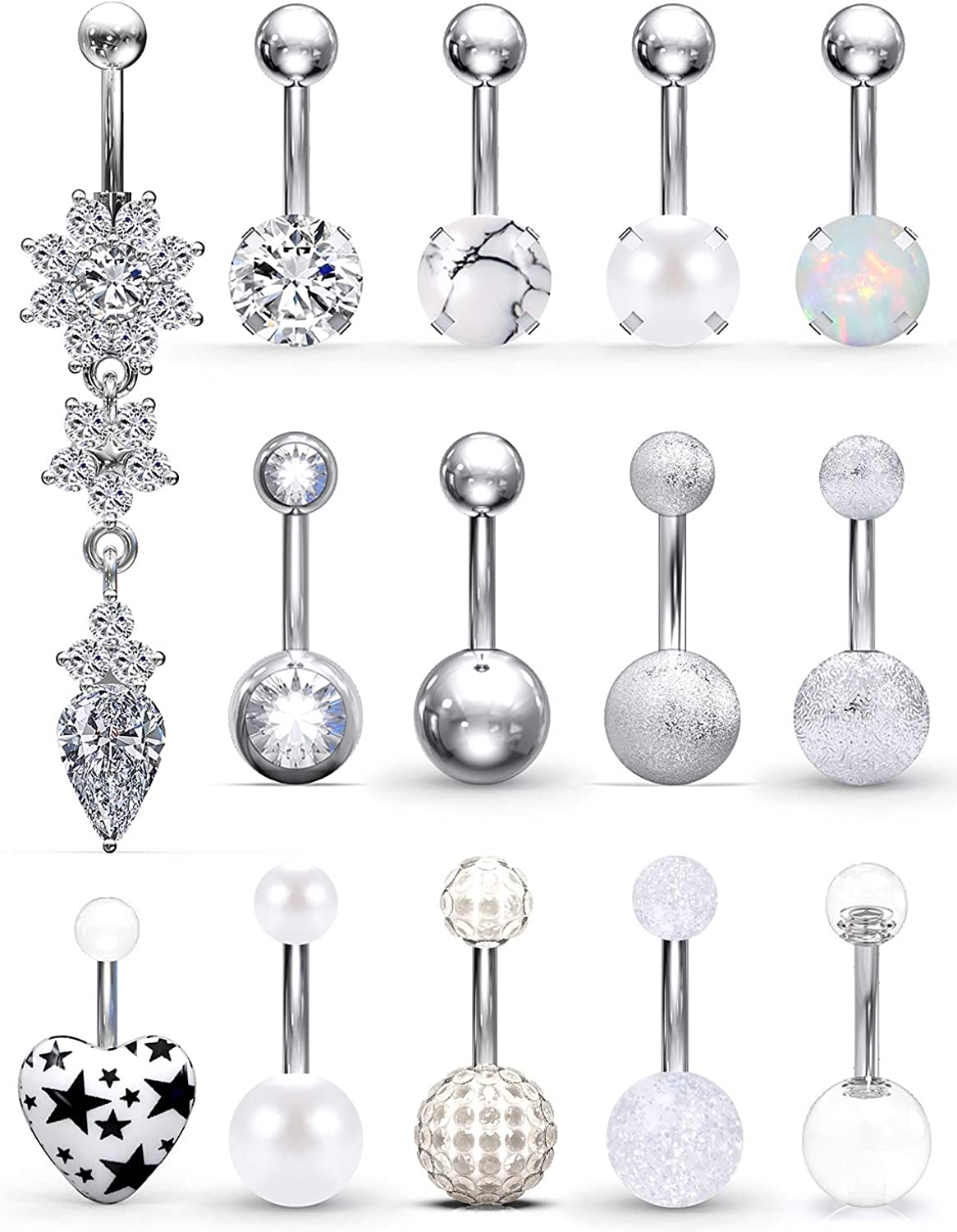SCERRING Belly Button Rings 14G Stainless Steel Navel Belly Earring Dangle CZ Heart Opal Navel Ring Barbell Body Piercing Jewelry 14PCS