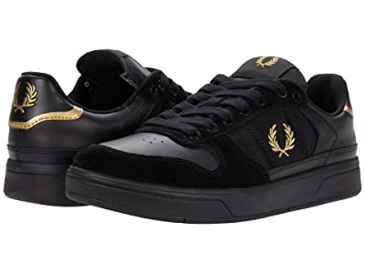 Fred Perry B300 Leather/Mesh/Suede (Black) Men