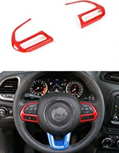 Dwindish 2 PCS Red ABS Car Styling Auto Accessories Interior Decoration Steering Wheel Buttons Sequins Cover Trim for Jeep Renegade 2015 Up Jeep Compass 2017 Up