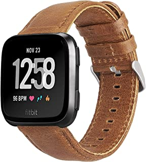 KADES for Fitbit Versa Bands, Classic Leather Band Replacement Strap Compatible for Fitbit Versa Lite Smart Watch Men Women (Brown Band+ Silver Buckle)