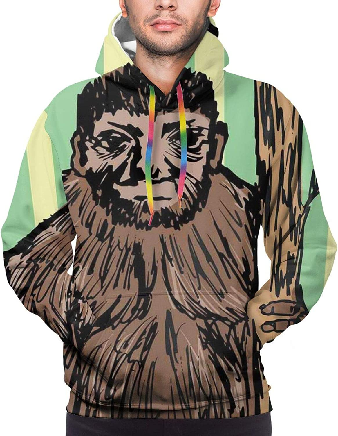Men's Hoodies Sweatshirts,Artistic Sketch of Mysterious Yeti Holding A Tree Trunk On Striped Background Print