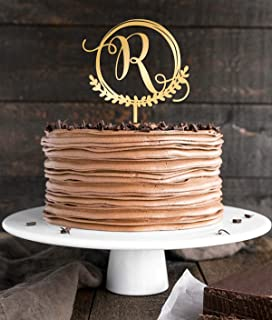 R Letter Monogram Personalized Custom Cake Topper,Wedding Gold Cake Decoration Favors Cake Decorating Party Supplies