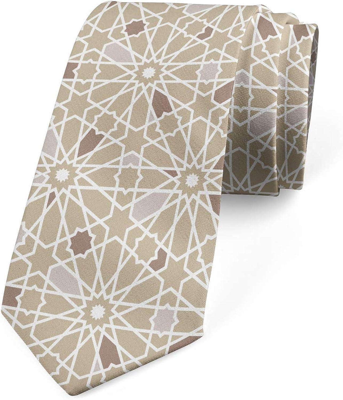Ambesonne Necktie, Classical Neutral Motif, Dress Tie, 3.7