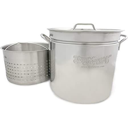 Bayou Classic 1136 36-qt Stainless Stockpot with Basket, quarts, Silver