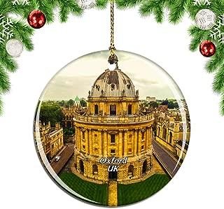 Weekino UK England University of Oxford Christmas Xmas Tree Ornament Decoration Hanging Pendant Decor City Travel Souvenir Collection Double Sided Porcelain 2.85 Inch