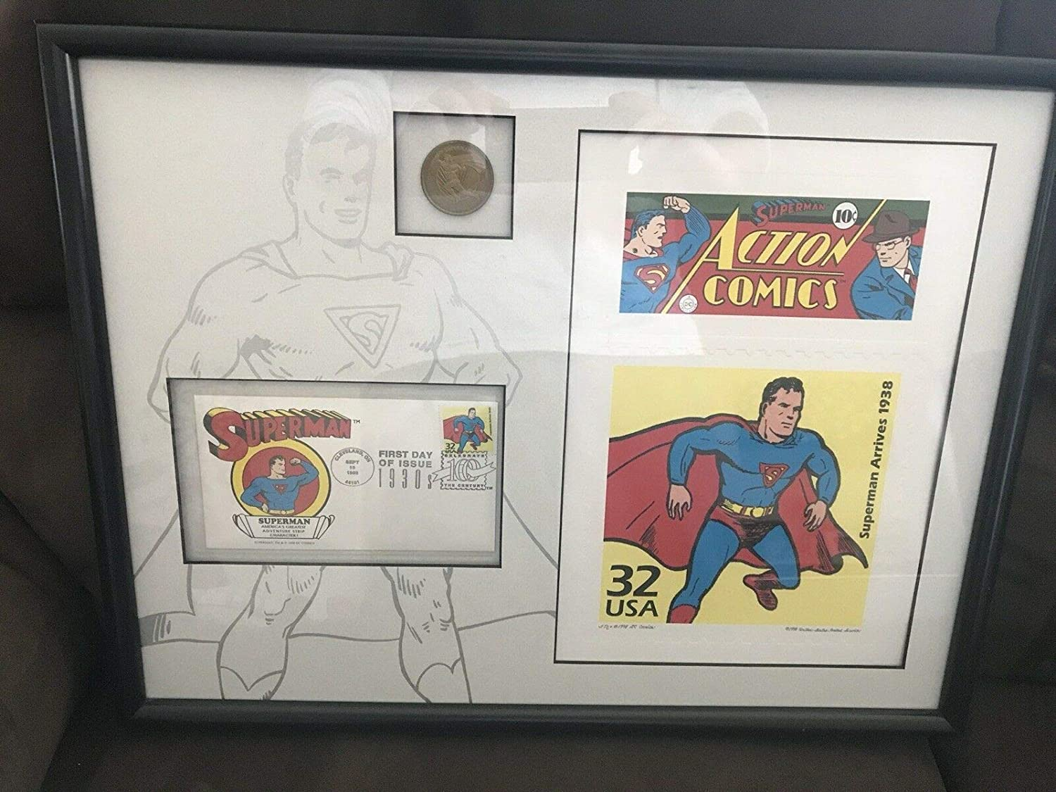 WARNER BROS GALLERY Ranking TOP7 SUPERMAN STAMPING OUT LITHO INJUSTICE shopping FRAMED