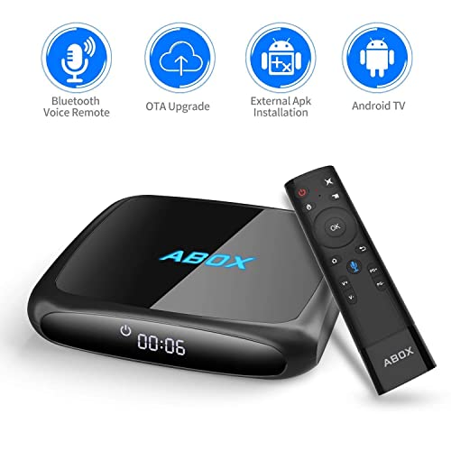 Android TV Box, 2018 ABOX The 4th Generation A4 2.4G/5G Android 7.1 UHD 4k Smart TV Box with Voice Remote, Wi-Fi, Bluetooth 2GB RAM, 16GB ROM