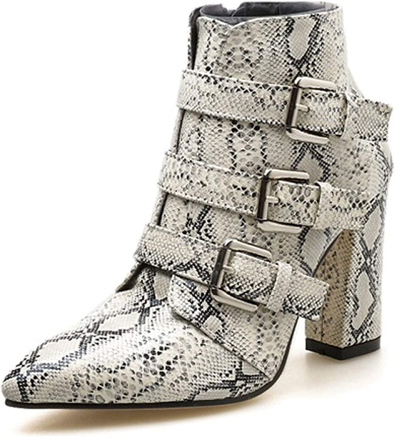 Crazy-shop Print Snake Pu Women Ankle Boots Buckle Pointed Toe Thick High Heels Party shoes