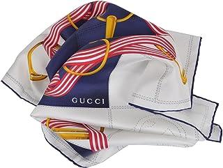 Gucci Women's 352213 Silk Cream Blue Interlocking GG Twill Neck Scarf