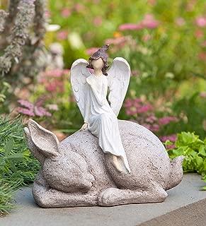 Wind & Weather Indoor Outdoor Angel on Bunny Garden Statue 10.75 L x 7 W x 10.25 H
