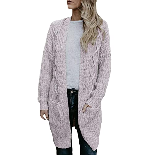 200e2964df HOTAPEI Women s Oversized Loose Open Front Long Cable Knit Weave Cardigan  Sweaters with Pockets