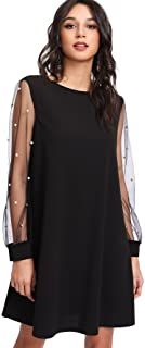 96b4529348 DIDK Women's Tunic Dress with Embroidered Floral Mesh Bishop Sleeve