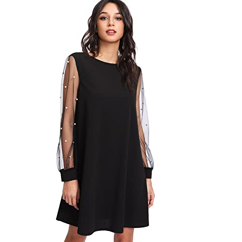 3797485d32 DIDK Women s Tunic Dress with Embroidered Floral Mesh Bishop Sleeve