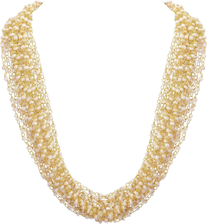 Zephyrr Fashion Hand Made Golden Multi Strand Beaded Necklace for Women