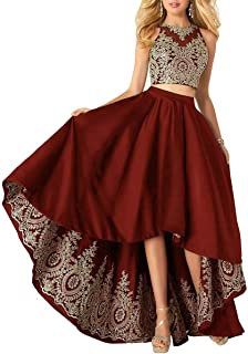 MKbridal Women's Hi-Low Homecoming Dresses Satin Lace Applique A-line Two Piece Formal Prom Gown with Pockets