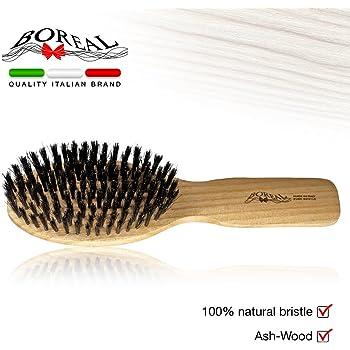Spazzola ovale in legno naturale di frassino e pura setola di cinghiale. 100% made in Italy.
