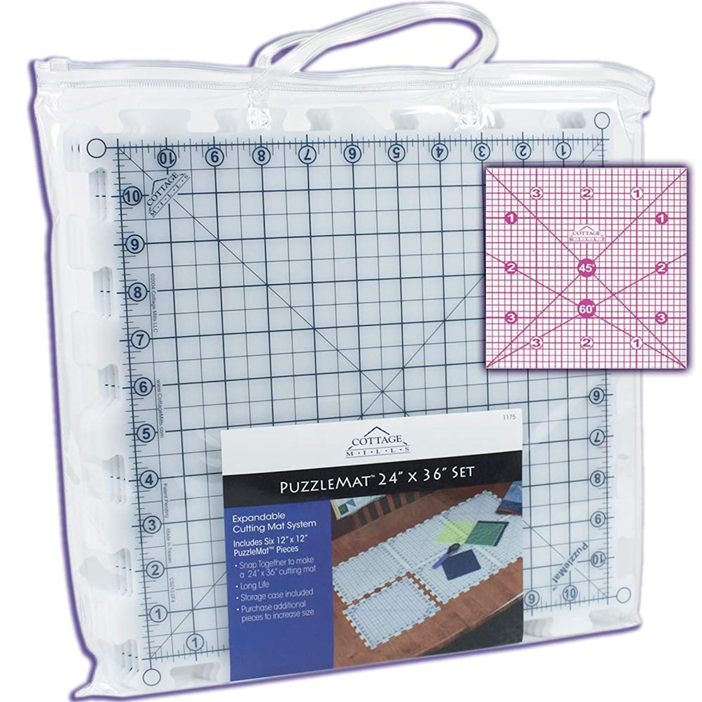 """PuzzleMat 24"""" x 36"""" Rotary Cutting Mat Set – Includes 6 – 12"""" x 12"""" pieces and carrying case. Perfect for the quilter on the go! ++ Bonus FREE 4"""" x 4"""" acrylic ruler a $5.99 value ++"""