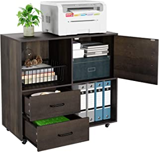Sponsored Ad - HOMECHO File Cabinet Mobile Lateral Filing Cabinet with Wheels, Large Modern Printer Stand with 2 Drawers a...