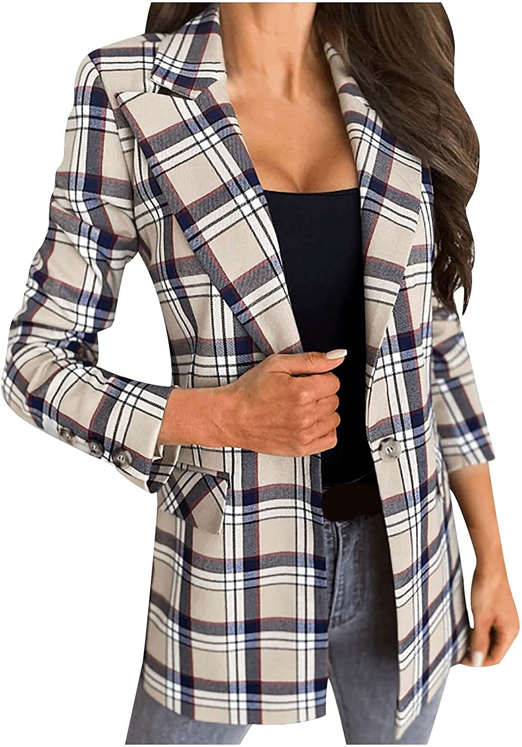 Women's Casual Plaid Open Front Long Sleeve Lapel Button Slim Work Office Blazer Jacket Autumn and Winter Fashion Coat