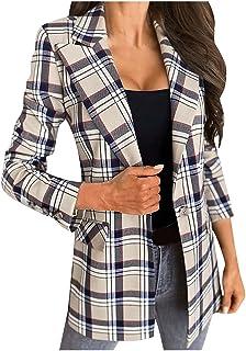 Blazer voor dames, dames, herfst en winter, mode Street Casual lange mouwen geruite pak jas