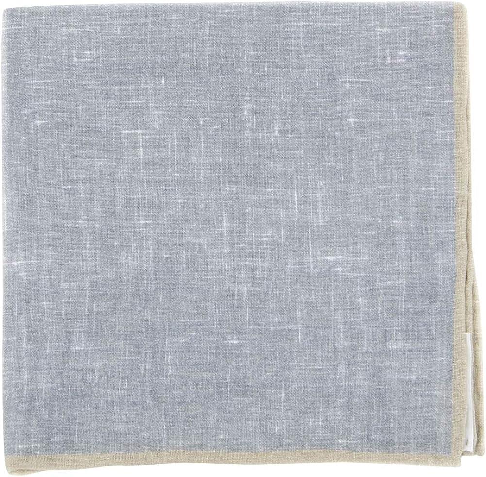 Fiori Di Lusso Gray Solid Linen Pocket Square - x