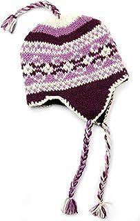 TCG Women's Hand Knit Wool Vintage Pattern Sherpa Hat