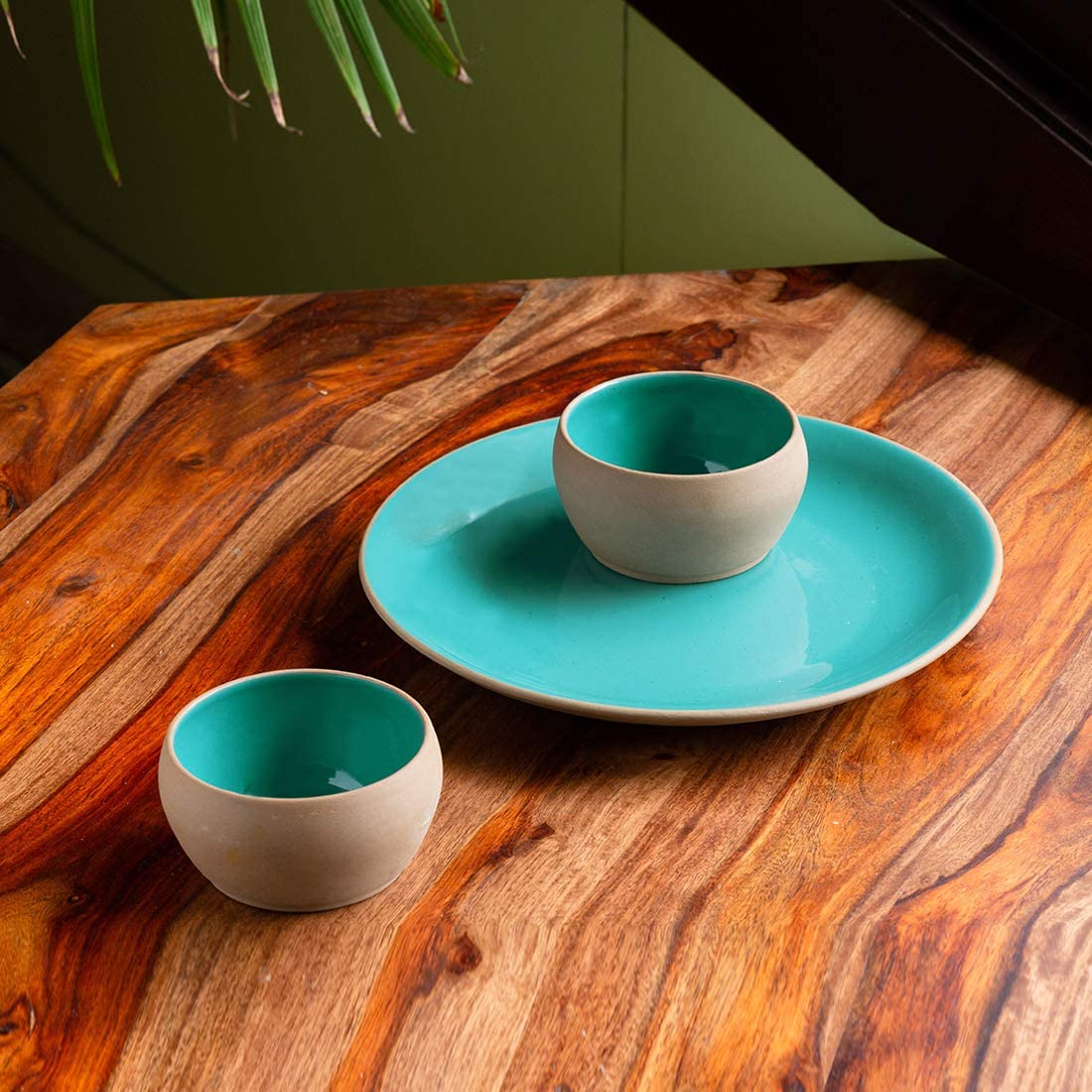 Sale Direct sale of manufacturer ExclusiveLane 'Earthen Turquoise' Hand Ceramic Glazed Plates For