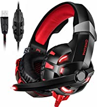 PC Gaming Headset USB, 7.1 Surround Sound USB Gaming Headphons Crystal Clear Sound with Noise Isolating Mic Deep Bass Volume Control LED Light for PC Mac Computer Gamers Laptop Red