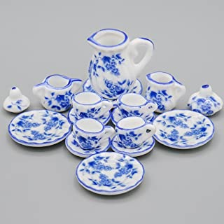 Odoria 1:12 Miniature 15PCS Blue Porcelain Tea Cup Set Blue Chintz Dollhouse Kitchen Accessories