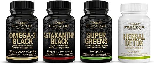 FREZZOR Diabetes Supplements Combo-Pack, Omega 3, Astaxanthin, Super Greens Capsules, Herbal Detox